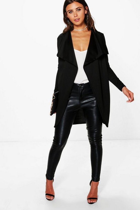 Womens Black Petite  Ponte Wrap Front Duster Jacket