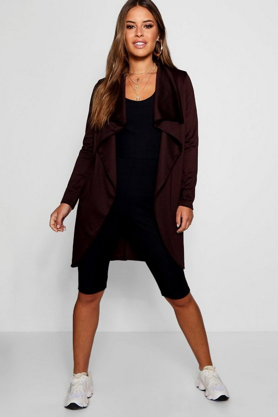 Womens Chocolate Petite  Ponte Wrap Front Duster Jacket