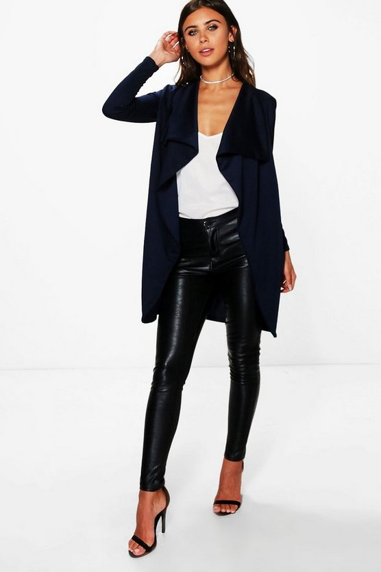 Womens Navy Petite Ponte Wrap Front Duster Jacket