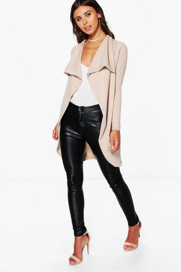 Womens Sand Petite  Ponte Wrap Front Duster Jacket