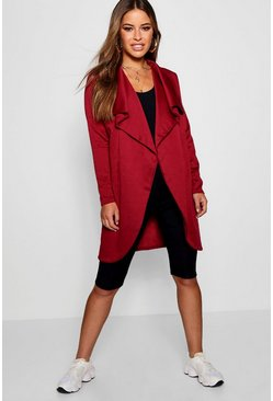 Womens Wine Petite Ponte Wrap Front Duster Jacket