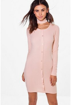Womens Dusky pink Petite Alison Button Front Choker Mini Dress