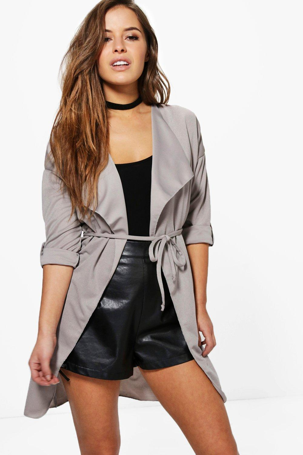 Tammu Back: Petite Tammy Waterfall Ruched Back Belted Duster At Boohoo.com