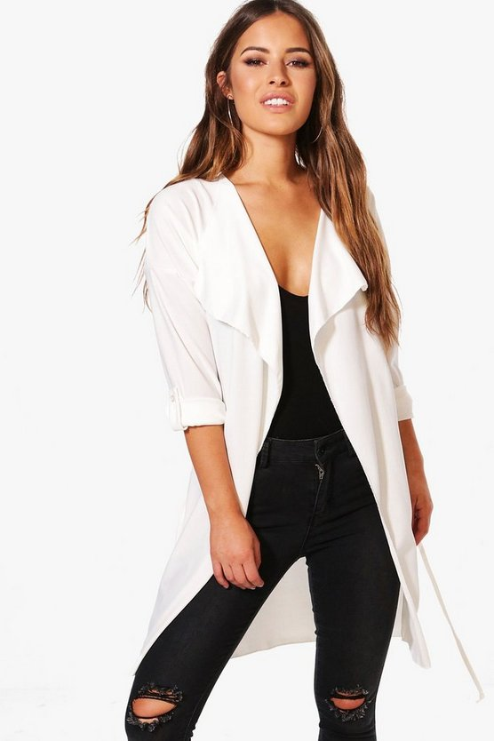Petite Waterfall Ruched Back Belted Duster
