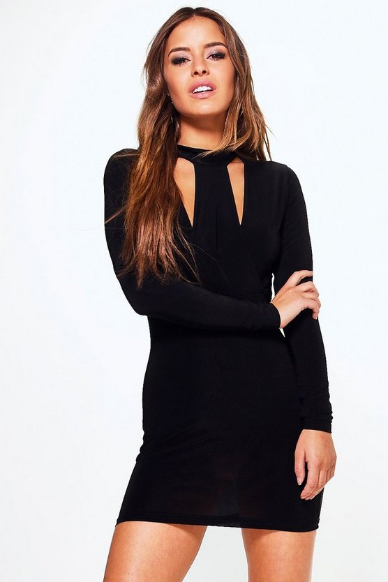 Petite Bella High Neck Cut Out Midi Dress
