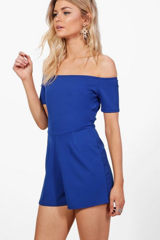 Womens Cobalt Petite Off The Shoulder Crepe Playsuit