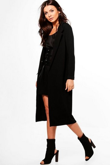Womens Black Petite Longline Duster