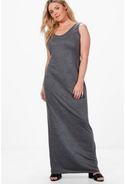 Womens Charcoal Plus  Scoop Neck Maxi Dress