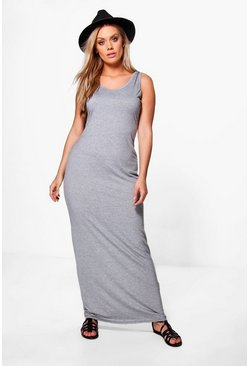 Womens Grey Plus  Scoop Neck Maxi Dress