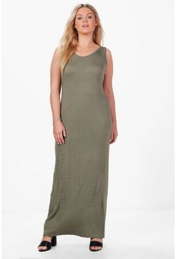 Womens Khaki Plus  Scoop Neck Maxi Dress