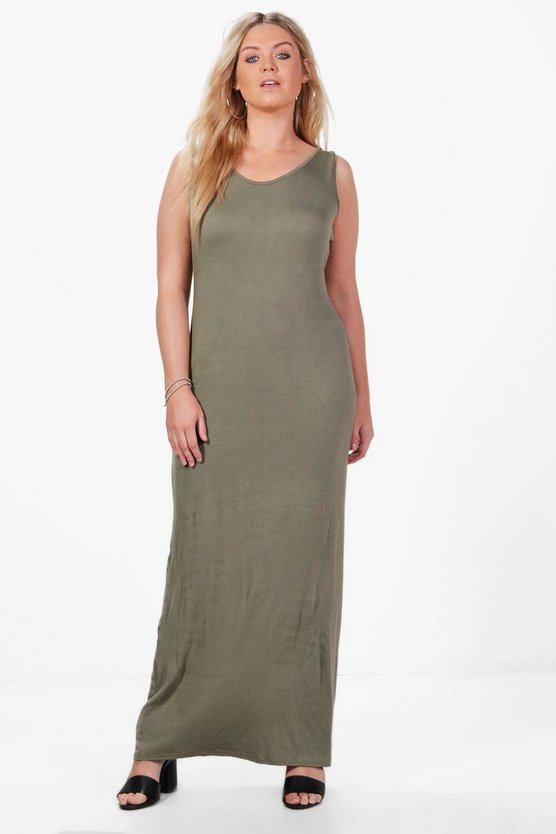 Plus  Scoop Neck Maxi Dress