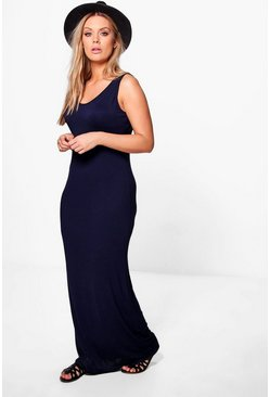 Womens Navy Plus  Scoop Neck Maxi Dress