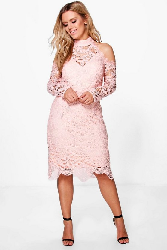 Plus Crochet Lace Open Shoulder Midi Dress