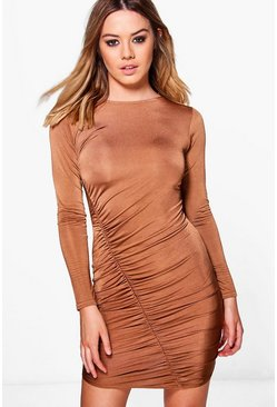 Womens Bronze Petite Charlotte Ruched Detail Bodycon Dress