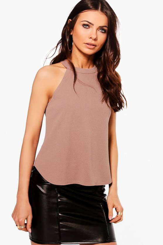Petite High Neck Strap Top