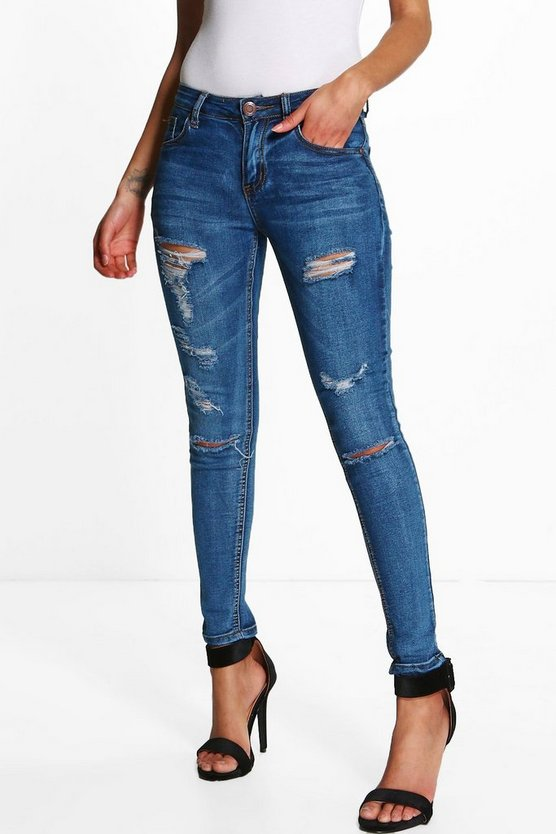 Womens Mid blue Petite  Mid Rise Skinny Jeans