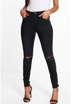 Womens Black Petite High Waisted Skinny Jeans