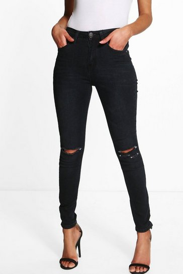 Black Petite  High Waisted Skinny Jeans