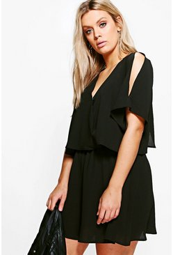 Black Plus Ruffle Open Shoulder Dress
