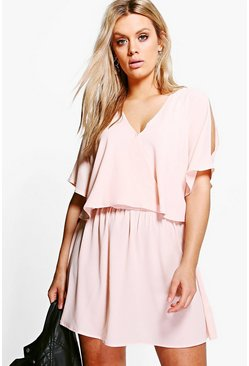 Womens Blush Plus Ruffle Open Shoulder Dress