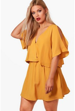 Mustard Plus Ruffle Open Shoulder Dress