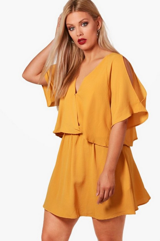 Womens Mustard Plus Ruffle Open Shoulder Dress