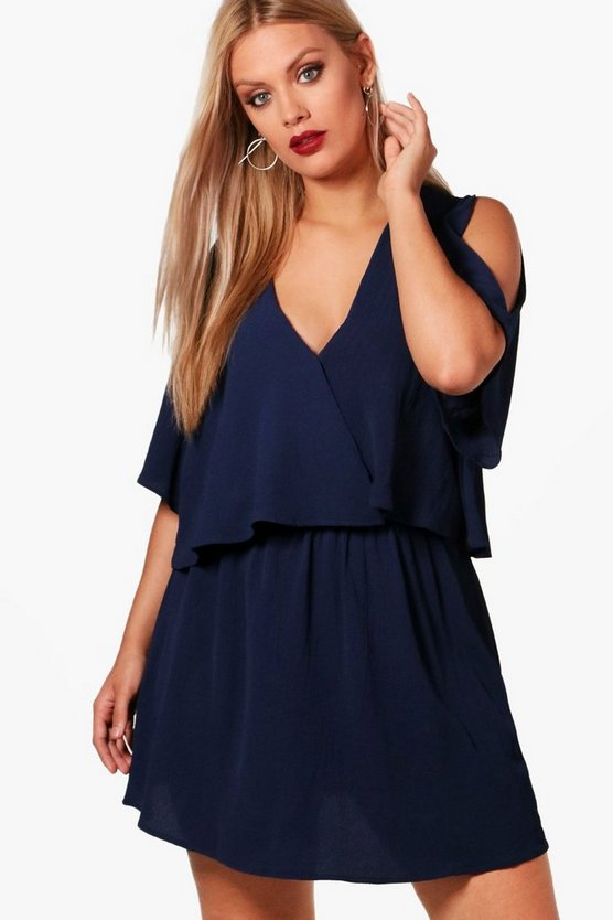Womens Navy Plus Ruffle Open Shoulder Dress