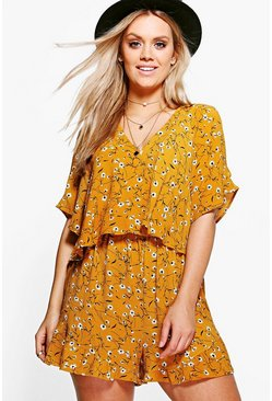 Womens Mustard Plus Floral Printed Ruffle Playsuit