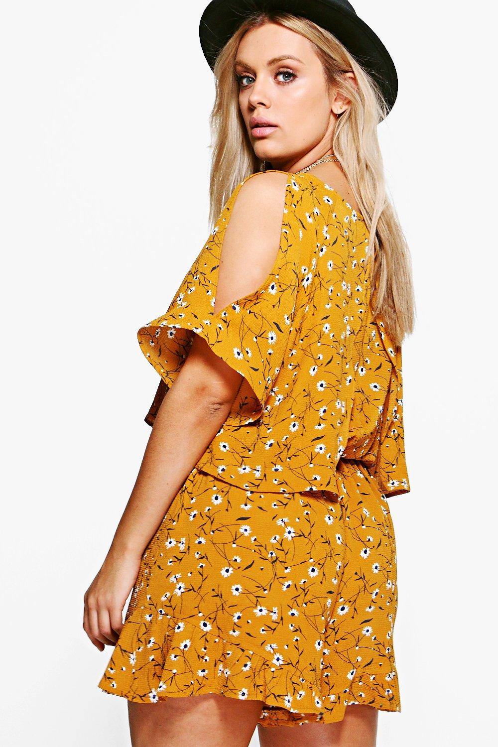 Floral mustard Playsuit Plus Ruffle Printed ZwPdnqxfa