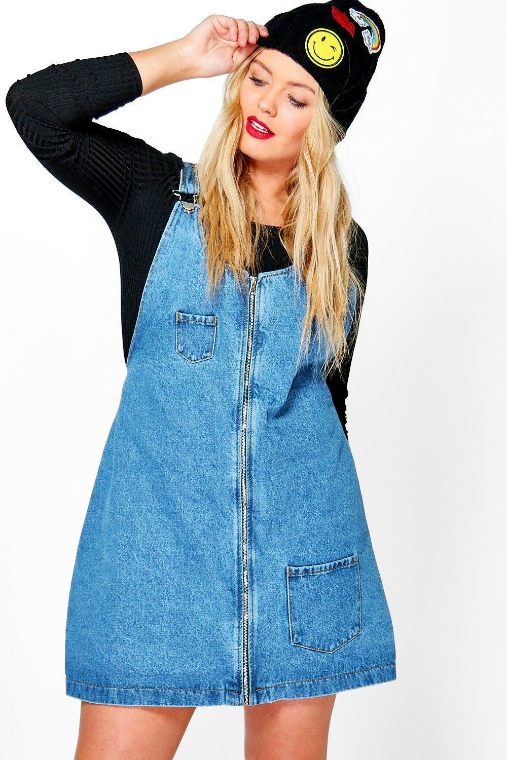 9a582b265d Plus Penny Denim Zip Front Pinafore Dress. Hover to zoom