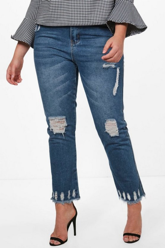 Plus Jessica Fray Hem Distressed Mom Jean