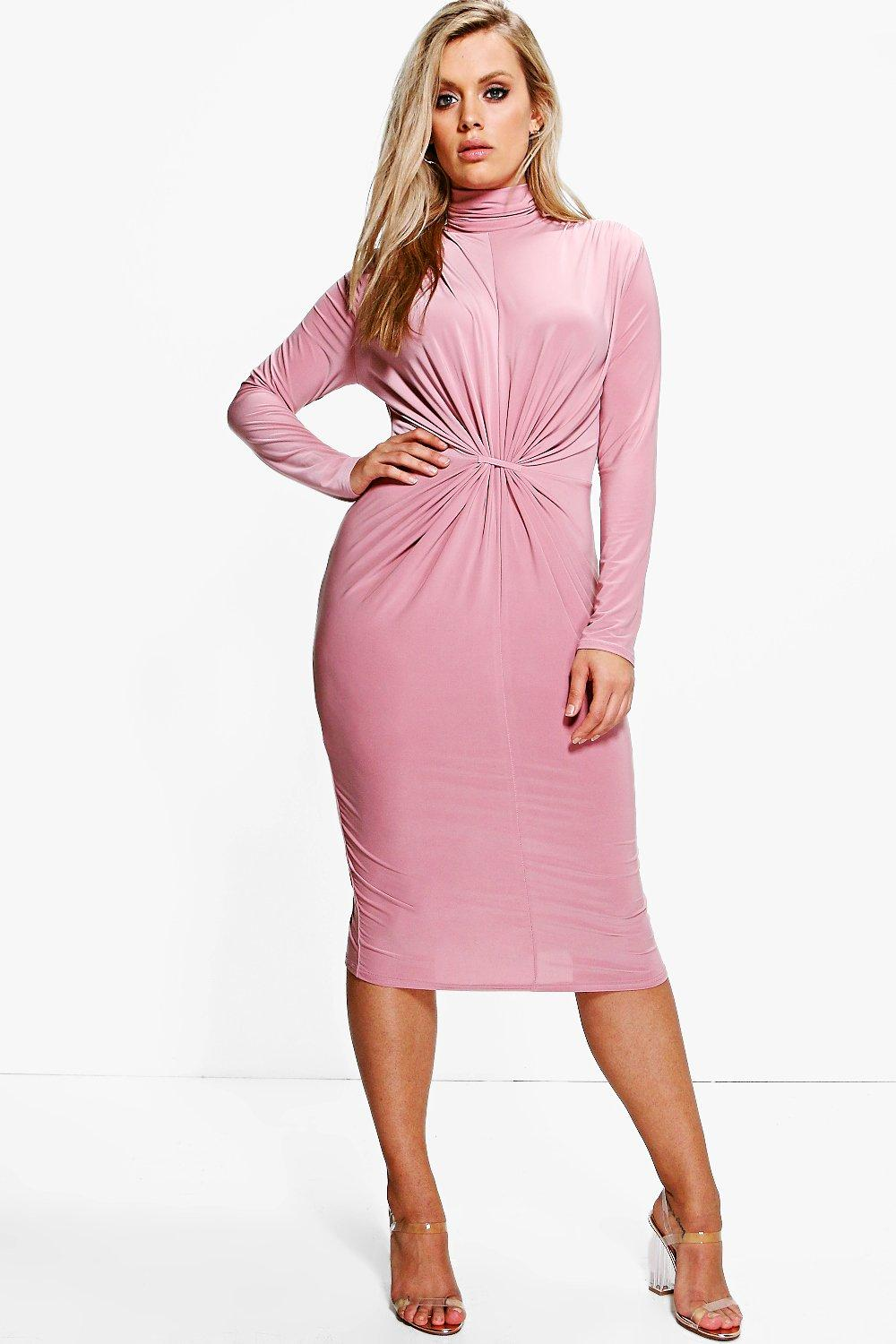 05d23e5402a9 Plus Charlotte High Neck Ruched Midi Dress. Hover to zoom