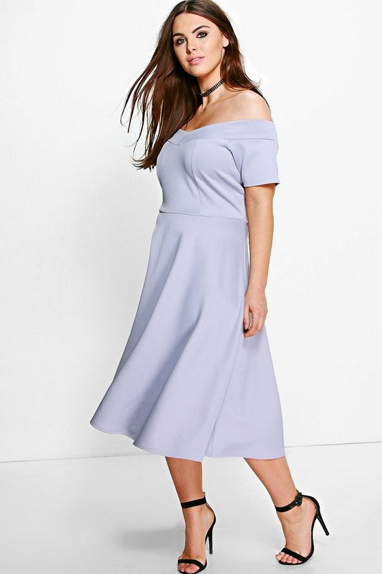 Womens Grey Plus Emily Off The Shoulder Skater Dress