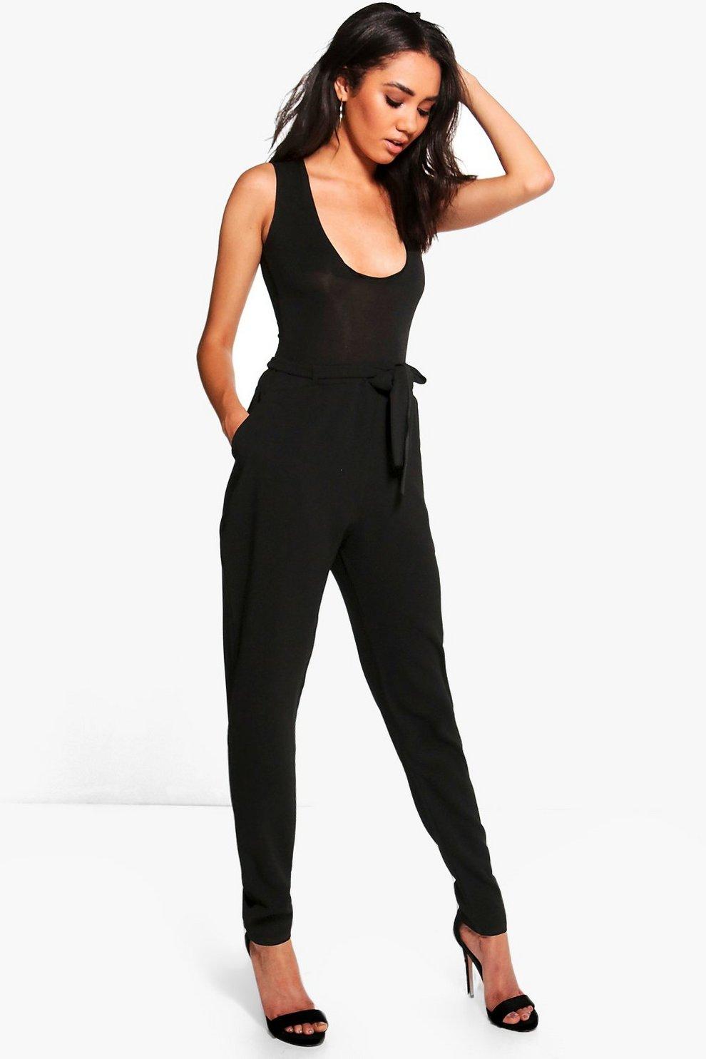 f221e16a0f74ff Womens Black Petite Tie Waist Tapered Pants