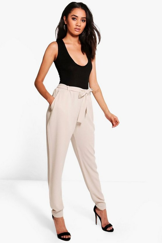 Womens Petite Tie Waist Tapered Trousers