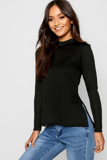 Womens Black Petite  High Neck Soft Knit Side Split Tunic Top