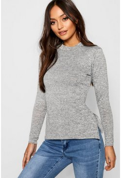 Womens Grey Petite  High Neck Soft Knit Side Split Tunic Top