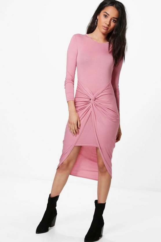 Petite Elle Knot Front Long Sleeve Dress