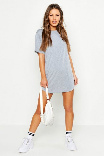 Grey marl Petite  Curved Hem T-shirt Dress