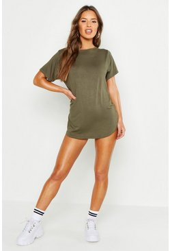 Womens Khaki Petite  Curved Hem T-shirt Dress