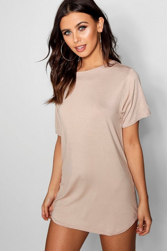 Womens Sand Petite  Curved Hem T-shirt Dress