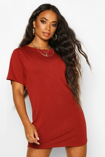 Womens Terracotta Petite  Curved Hem T-shirt Dress
