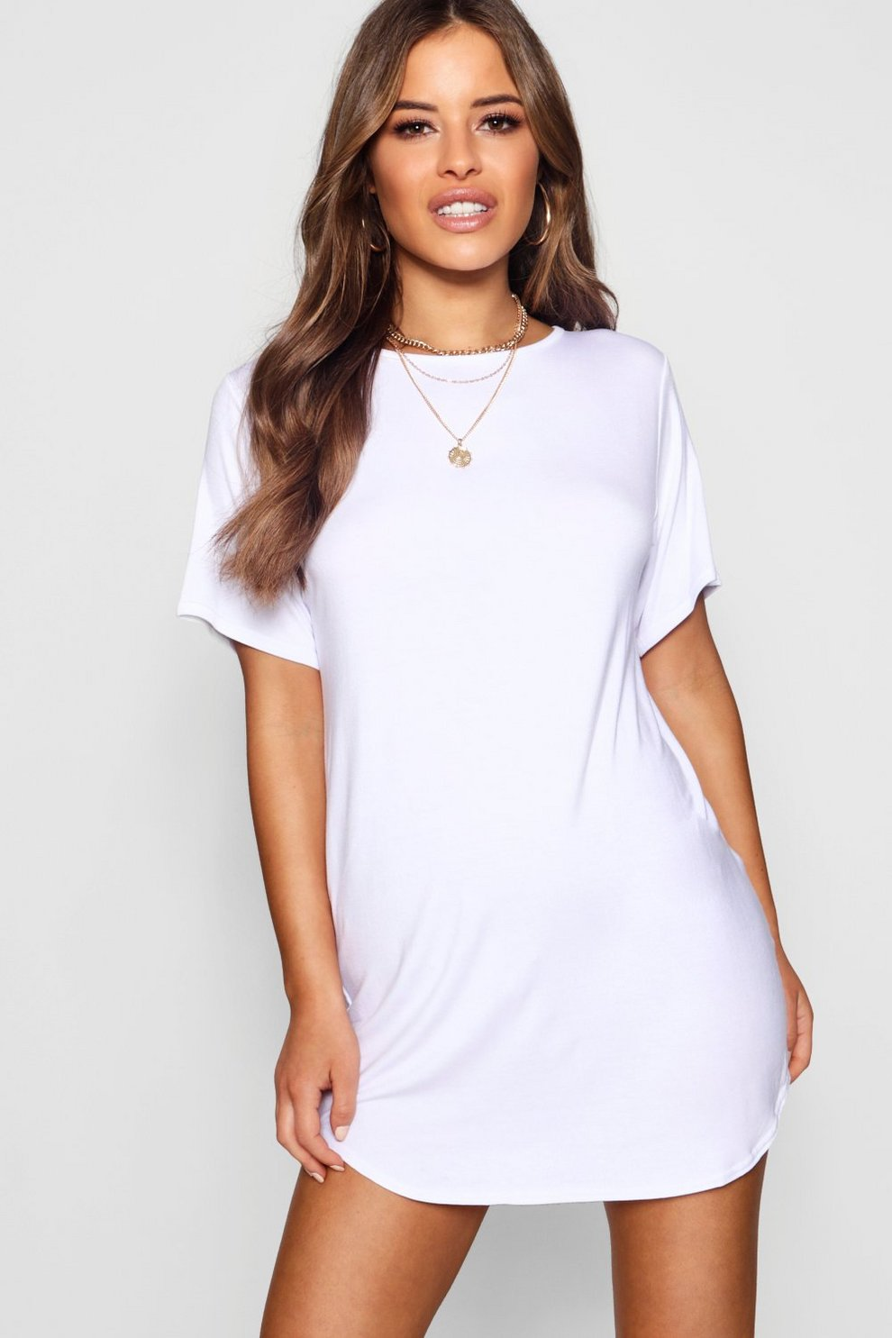 b0277fa7bf4 Petite Curved Hem T-shirt Dress