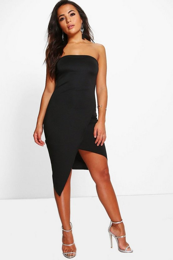 Womens Black Petite Mona Bandeau Asymmetric Midi Dress