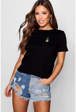 Womens Black Petite Pineapple Badge T-Shirt