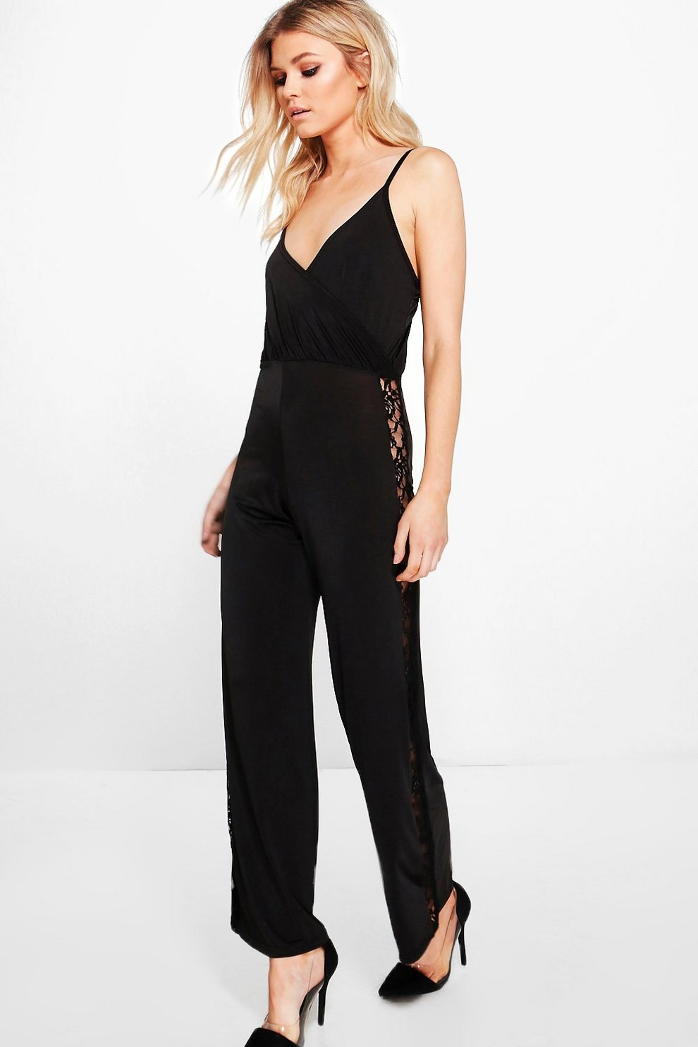 cf251297a97 Petite Mollie Wrap Lace Panel Wide Leg Jumpsuit
