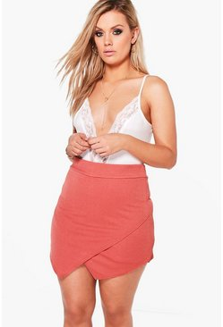 Womens Antique rose Plus Asymmetric Wrap Skort