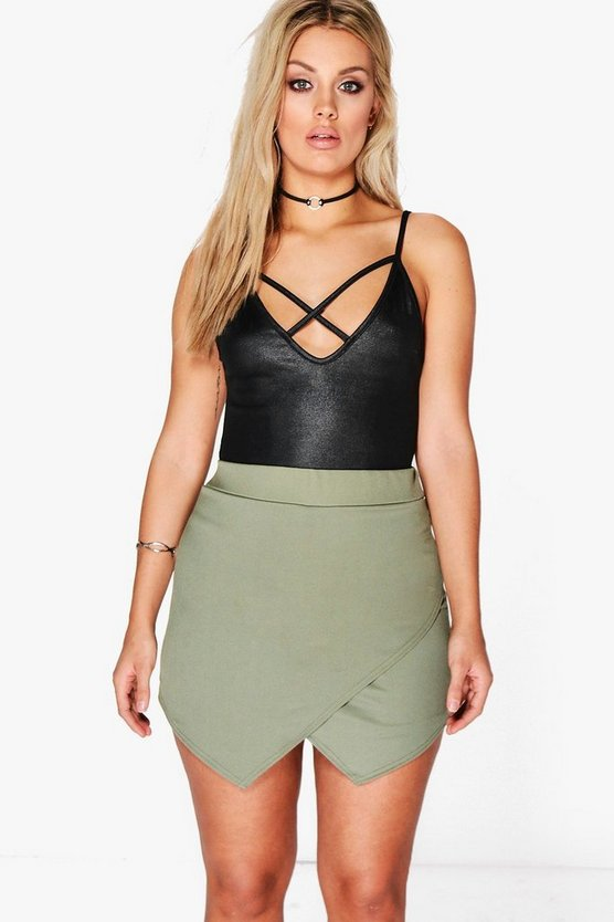Womens Khaki Plus Asymmetric Wrap Skort