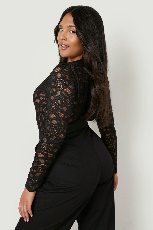 V Plunge black Neck Lace Plus Bodysuit d5x8WqT