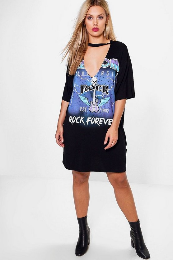 Plus Lyla Printed Slogan T-shirt Dress